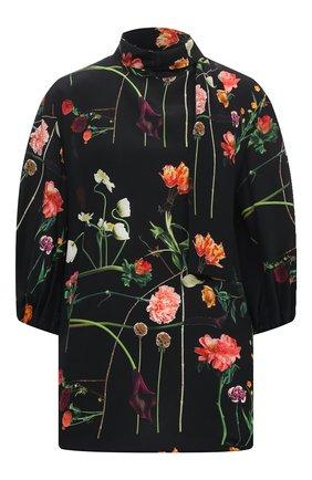 Женская шелковая блузка VALENTINO черного цвета, арт. UB0AB1R0624   Фото 1