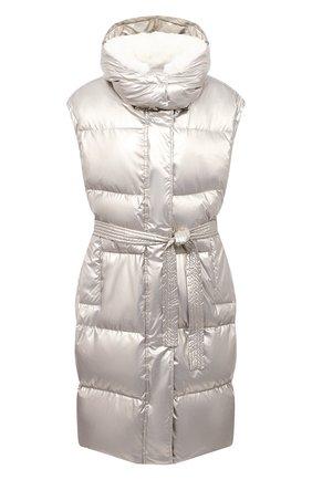 Женский пуховый жилет YVES SALOMON серебряного цвета, арт. 21WYG02200TEDI | Фото 1