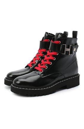 Женские кожаные ботинки HOGAN черного цвета, арт. HXW5430DG301QA | Фото 1