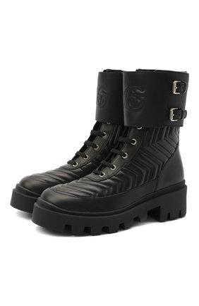 Женские кожаные ботинки frances GUCCI черного цвета, арт. 628855/DH7A0 | Фото 1