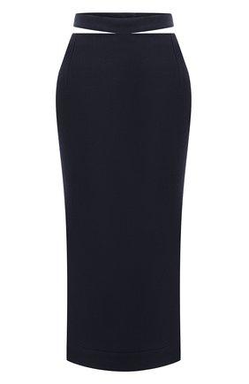Женская юбка из вискозы и льна JACQUEMUS темно-синего цвета, арт. 203SK01/124380 | Фото 1