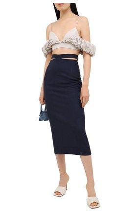 Женская юбка из вискозы и льна JACQUEMUS темно-синего цвета, арт. 203SK01/124380 | Фото 2