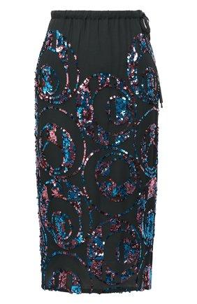 Женская юбка с пайетками DRIES VAN NOTEN зеленого цвета, арт. 202-30831-1424 | Фото 1