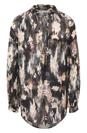 Женская шелковая блузка IRO разноцветного цвета, арт. WM16SENK   Фото 1 (Материал внешний: Шелк; Рукава: Длинные; Женское Кросс-КТ: Блуза-одежда; Длина (для топов): Удлиненные; Принт: С принтом)