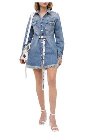 Женское джинсовое платье OFF-WHITE голубого цвета, арт. 0WYM004E20DEN0024001 | Фото 2