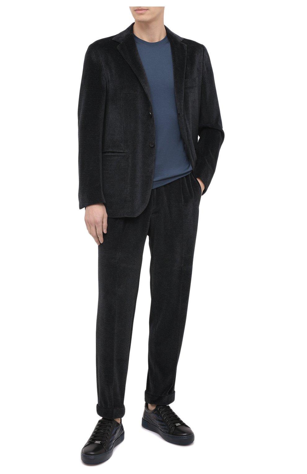 Мужской костюм KNT серого цвета, арт. UAS0101K01T28 | Фото 1 (Рукава: Длинные; Костюмы М: Однобортный; Материал внешний: Синтетический материал, Хлопок; Материал подклада: Купро; Стили: Кэжуэл)