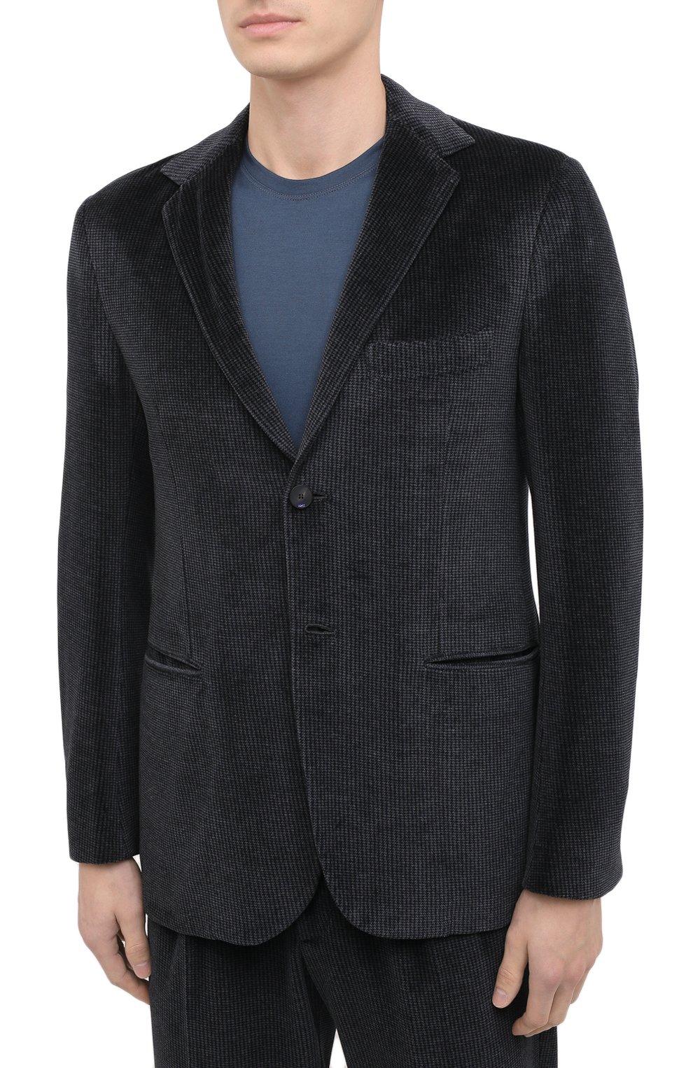 Мужской костюм KNT серого цвета, арт. UAS0101K01T28 | Фото 2 (Рукава: Длинные; Костюмы М: Однобортный; Материал внешний: Синтетический материал, Хлопок; Материал подклада: Купро; Стили: Кэжуэл)