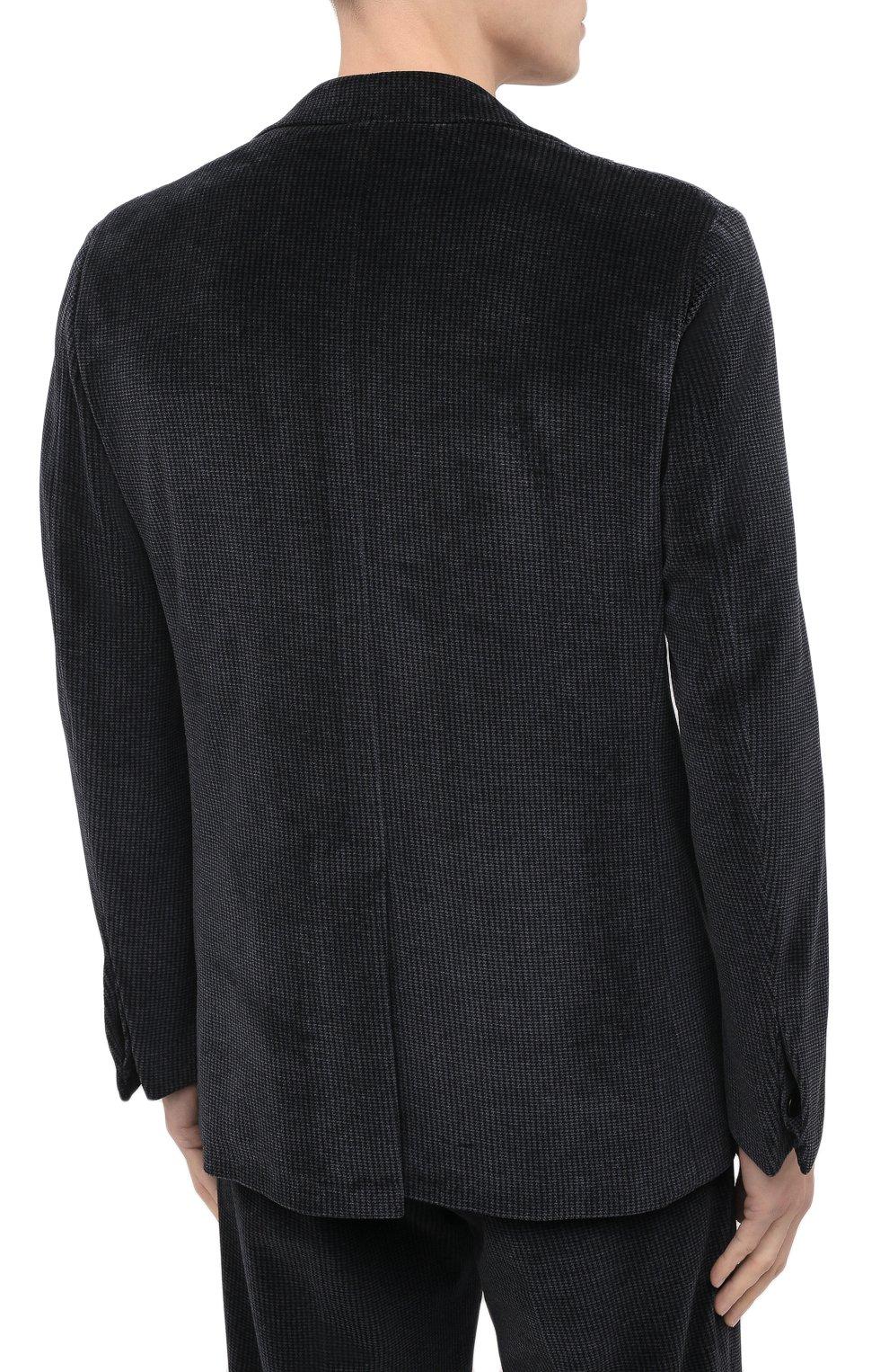 Мужской костюм KNT серого цвета, арт. UAS0101K01T28 | Фото 3 (Рукава: Длинные; Костюмы М: Однобортный; Материал внешний: Синтетический материал, Хлопок; Материал подклада: Купро; Стили: Кэжуэл)