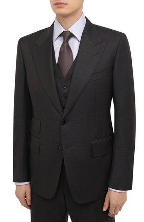 Мужской шерстяной костюм-тройка TOM FORD серого цвета, арт. 822R09/31AL43 | Фото 2