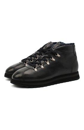 Мужские кожаные ботинки DOUCAL'S темно-синего цвета, арт. DU1792WINNUM1882B00 | Фото 1