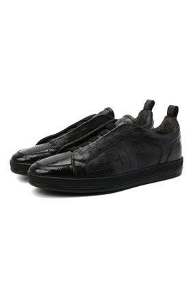 Мужские кожаные кеды DOUCAL'S серого цвета, арт. DU2511GENTPT377NN05 | Фото 1
