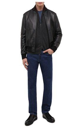 Мужские кожаные кеды DOUCAL'S серого цвета, арт. DU2511GENTPT377NN05 | Фото 2