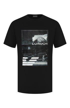 Мужская хлопковая футболка EMPORIO ARMANI черного цвета, арт. 6H1TA3/1JDXZ   Фото 1