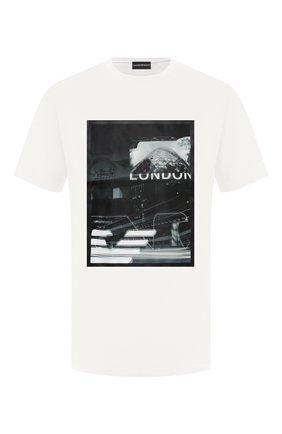 Мужская хлопковая футболка EMPORIO ARMANI белого цвета, арт. 6H1TA3/1JDXZ   Фото 1