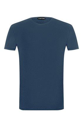 Мужская футболка TOM FORD синего цвета, арт. BV229/TFJ950 | Фото 1 (Рукава: Короткие; Материал внешний: Хлопок, Лиоцелл; Длина (для топов): Стандартные; Мужское Кросс-КТ: Футболка-одежда; Принт: Без принта; Стили: Кэжуэл)