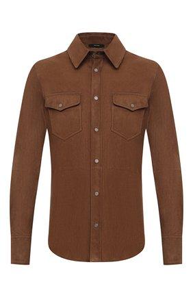 Мужская замшевая рубашка TOM FORD коричневого цвета, арт. BV414/TFL646 | Фото 1