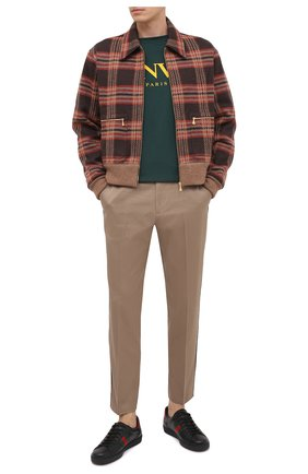 Мужской хлопковые брюки GUCCI бежевого цвета, арт. 468518/Z3732 | Фото 2