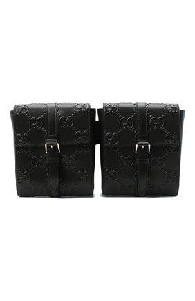 Мужская кожаная поясная сумка gg leather GUCCI черного цвета, арт. 631339/1W3CN | Фото 1 (Ремень/цепочка: На ремешке; Материал: Натуральная кожа)