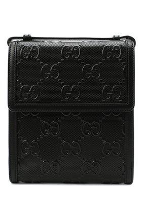 Мужская кожаная сумка gg leather GUCCI черного цвета, арт. 625782/1W3AN   Фото 1