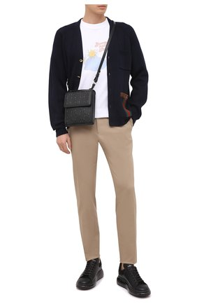 Мужская кожаная сумка gg leather GUCCI черного цвета, арт. 625782/1W3AN   Фото 2