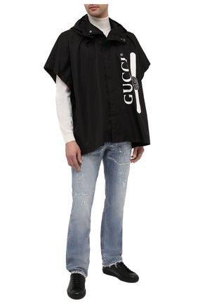 Мужские кожаные кеды new ace GUCCI черного цвета, арт. 625787/1XK10 | Фото 2