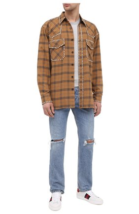 Мужские кожаные кеды new ace GUCCI белого цвета, арт. 630610/1XG60 | Фото 2