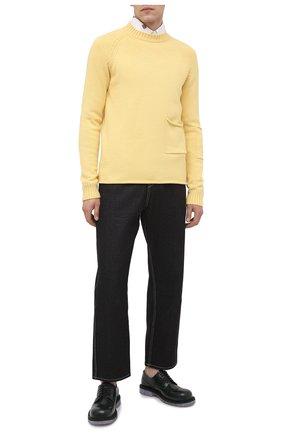 Мужские джинсы JACQUEMUS темно-синего цвета, арт. 206DE01/137390   Фото 2 (Материал внешний: Хлопок; Длина (брюки, джинсы): Стандартные; Силуэт М (брюки): Широкие; Стили: Минимализм)