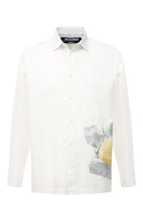 Мужская хлопковая рубашка JACQUEMUS белого цвета, арт. 206SH02/146113   Фото 1