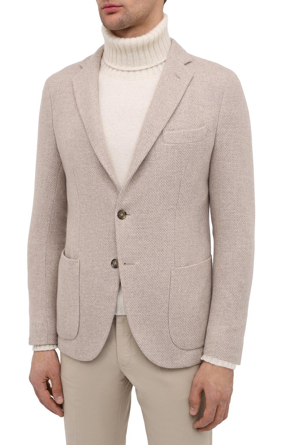 Мужской кашемировый пиджак LORO PIANA кремвого цвета, арт. FAL2971 | Фото 3