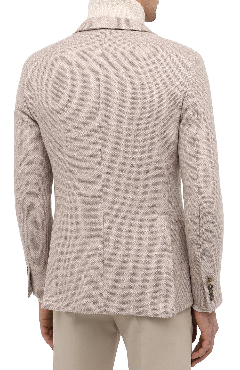 Мужской кашемировый пиджак LORO PIANA кремвого цвета, арт. FAL2971 | Фото 4