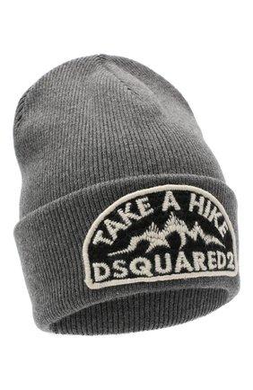 Мужская шерстяная шапка DSQUARED2 серого цвета, арт. KNM0001 01W03533 | Фото 1