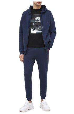 Мужской хлопковые джоггеры BOSS темно-синего цвета, арт. 50436652 | Фото 2