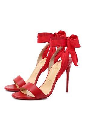 Женские кожаные босоножки du desert 100 CHRISTIAN LOUBOUTIN красного цвета, арт. sandale du desert 100 nappa/crepe satin   Фото 1