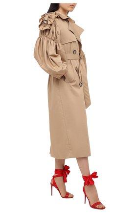 Женские кожаные босоножки du desert 100 CHRISTIAN LOUBOUTIN красного цвета, арт. sandale du desert 100 nappa/crepe satin   Фото 2