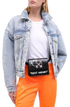 Женская поясная сумка 0.7 jitney OFF-WHITE черно-белого цвета, арт. 0WNA093E20LEA0011001   Фото 2
