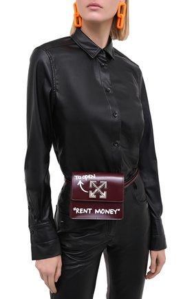 Женская поясная сумка 0.7 jitney OFF-WHITE бордового цвета, арт. 0WNA093E20LEA0012801   Фото 2