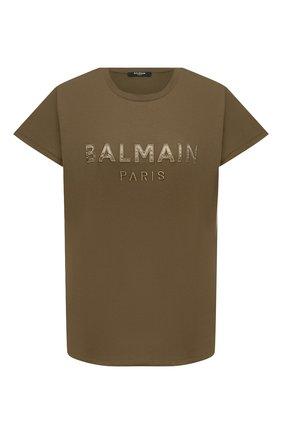 Женская хлопковая футболка BALMAIN хаки цвета, арт. UF01351/I590 | Фото 1