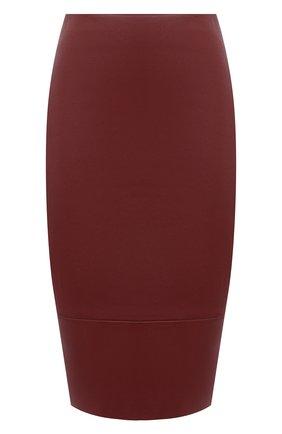 Женская кожаная юбка KITON бордового цвета, арт. D50271X05S03 | Фото 1