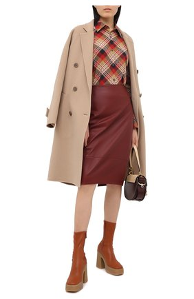 Женская кожаная юбка KITON бордового цвета, арт. D50271X05S03 | Фото 2