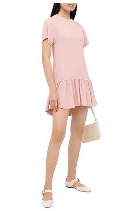 Женское платье REDVALENTINO светло-розового цвета, арт. UR0VAV40/0F1   Фото 2 (Материал внешний: Синтетический материал, Вискоза; Рукава: Короткие; Длина Ж (юбки, платья, шорты): Мини; Женское Кросс-КТ: Платье-одежда; Случай: Повседневный; Стили: Романтичный)
