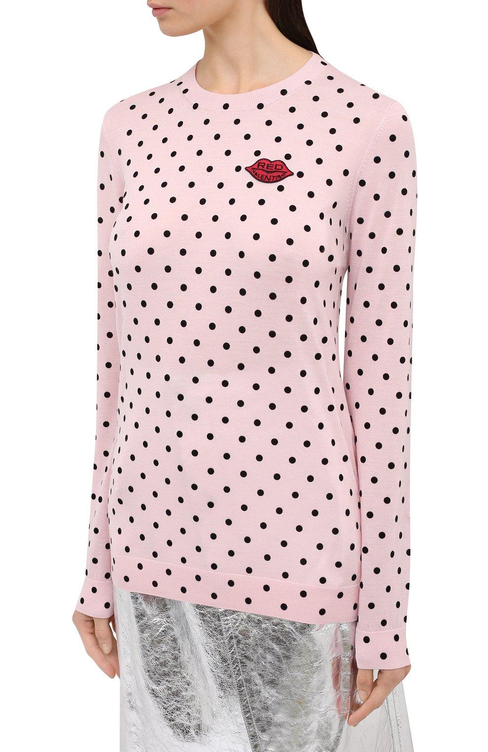 Женский шерстяной пуловер REDVALENTINO светло-розового цвета, арт. UR0KC02V/5EY | Фото 3