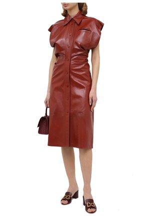Женские кожаные мюли DOLCE & GABBANA бордового цвета, арт. CR1115/AW562   Фото 2