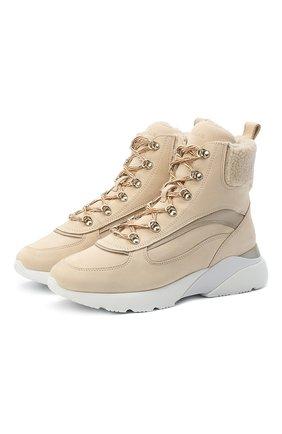 Женские кожаные ботинки HOGAN бежевого цвета, арт. HXW3850DB920HB | Фото 1