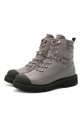 Женские кожаные ботинки valentino garavani rockstud VALENTINO серого цвета, арт. UW2S0R66/SPU | Фото 1