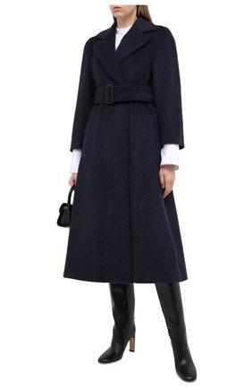 Женское шерстяное пальто EMPORIO ARMANI темно-синего цвета, арт. 9NL18T/92701 | Фото 2