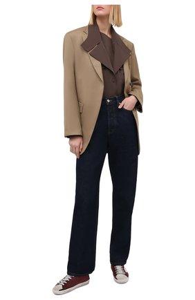 Женские кожаные кеды superstar GOLDEN GOOSE DELUXE BRAND бордового цвета, арт. GWF00101.F000191   Фото 2
