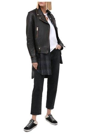 Женские кожаные кеды subot GOLDEN GOOSE DELUXE BRAND черно-белого цвета, арт. GWF00110.F000167   Фото 2