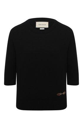 Женский кашемировый пуловер GUCCI черного цвета, арт. 628389/XKBH9   Фото 1