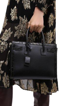Женская сумка sac de jour из кожи каймана SAINT LAURENT черного цвета, арт. 400631/0SXXW/CCR0 | Фото 2