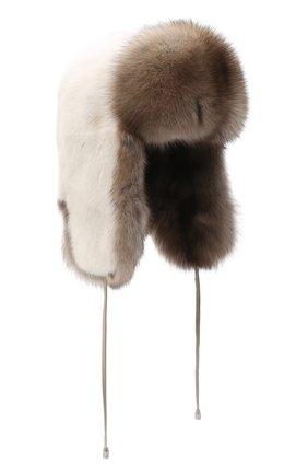Женская норковая шапка-ушанка KUSSENKOVV бежевого цвета, арт. 92003696093 | Фото 1